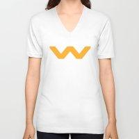 prometheus V-neck T-shirts featuring Weyland-Yutani Corporation by IIIIHiveIIII