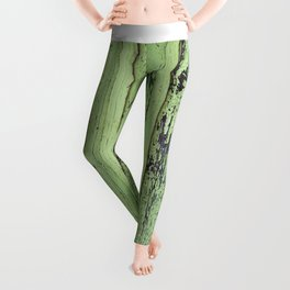 Rustic mint green grunge wood panels Leggings