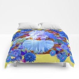 PASTEL IRIS & BLUE  BLUE FLOWERS YELLOW PATTERNS  FLOWERS ART FLOWERS Comforters