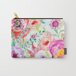 Watercolor Vibrant Flowers Red and Purple Carry-All Pouch