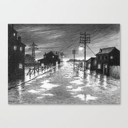 Rainy evening at the exit of the village Canvas Print