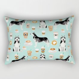 Husky coffee siberian husky owners gifts for dog person dog breed portraits by pet friendly Rectangular Pillow