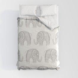 Modern gray white watercolor pastel cute elephant Comforters