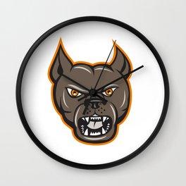 Pitbull Dog Mongrel Head Angry Cartoon Wall Clock