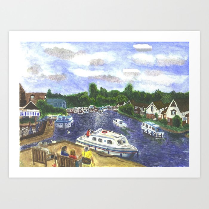 View from Wroxham Bridge, Norfolk Broads Watercolour Print Art Print