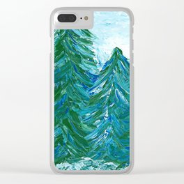 Snowy Evergreen Trees | Painting Clear iPhone Case