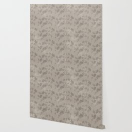 Abstract vintage chic brown cream floral illustration Wallpaper