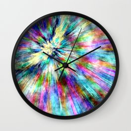Colorful Tie Dye Watercolor Wall Clock