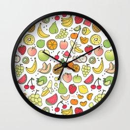 Juicy Fruits Doodle Wall Clock