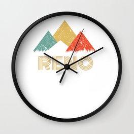 Retro City of Reno Mountain Shirt Wall Clock