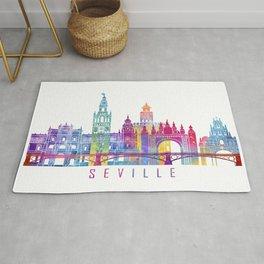 Seville skyline landmarks in watercolor Rug