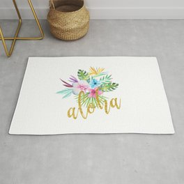 Hawaiian multicolored floral bouquet with faux gold aloha brush script Rug