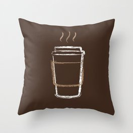 Coffee Cup Chalk Drawing Throw Pillow