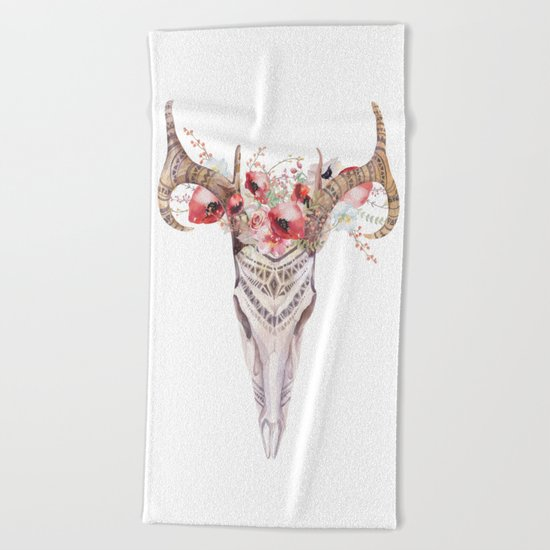Poppy Tribal Skull Beach Towel