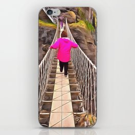 Carrick-a-rede rope bridge, Ireland. (Painting) iPhone Skin
