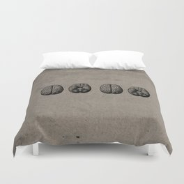 Row o' Brains - Engraving - Vintage - Old Black, White & Brown Duvet Cover