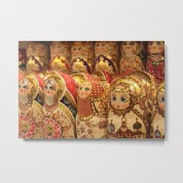 A lot of souvenirs of golden nesting dolls Metal Print