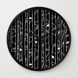 Into the Woods white on black Wall Clock