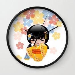 Japanese Summer Kokeshi Doll Wall Clock