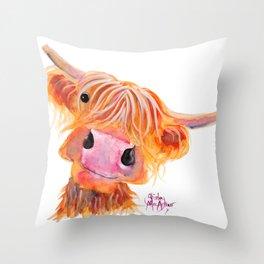 Highland Cow Print, Animal Print ' NESSIE ' by Shirley MacArthur Throw Pillow