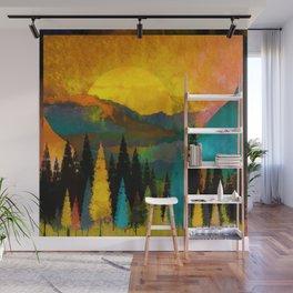 Ensnared Mountain & Golden Sun Wall Mural