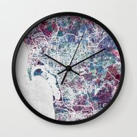 san diego Wall Clocks featuring San Diego map by MapMapMaps.Watercolors