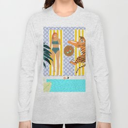 How To Vacay With Your Tiger #illustration Long Sleeve T-shirt