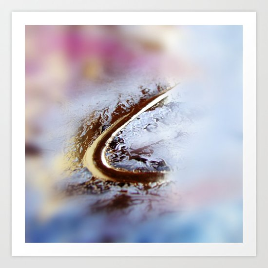 Abstract macro GOLDEN-PINK Art Print