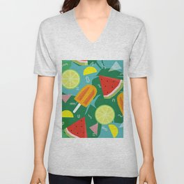 Watermelon, Lemon and Ice Lolly Unisex V-Neck