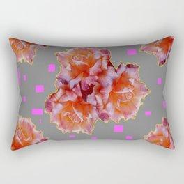 Grey & Violet Design & Old Rose flowers Pattern Art Rectangular Pillow