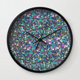 Sparkle Confetti Stars   Multi-color with Silver Tint   Wall Clock