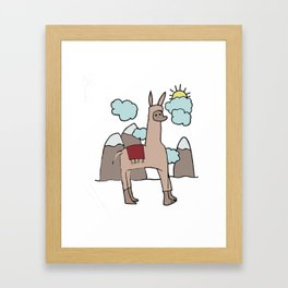 Llama with the Mountains Framed Art Print