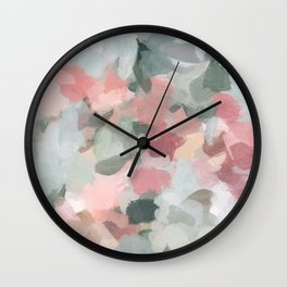 Blue Sage Green Coral Pink Tropical Flowers in the Wind Abstract Nature Ocean Painting Art Print Wall Decor  Wall Clock