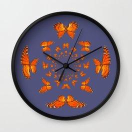 MONARCH BUTTERFLIES MATING ART GREY ABSTRACT Wall Clock