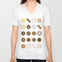 donuts V-neck T-shirts featuring Donuts by Dorothy Leigh