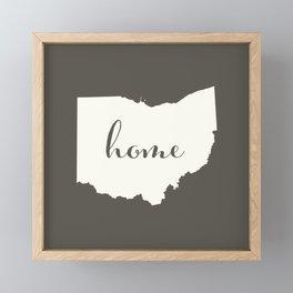 Ohio is Home - White on Charcoal Framed Mini Art Print