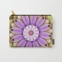 Stippled Flower Mandala Lavender Green Carry-All Pouch