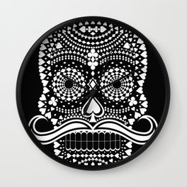 Black Skull  White Suits Wall Clock
