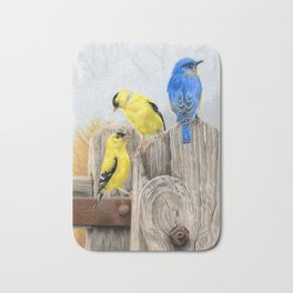 Misty Morning Meadow Cropped- Goldfinches and Bluebird Bath Mat