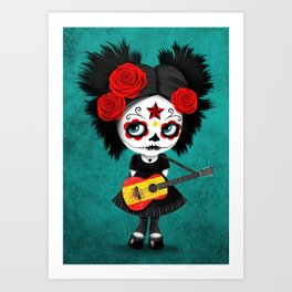 Day of the Dead Girl Playing Spanish Flag Guitar Art Print