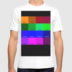 Blue, Pink, Yellow, Green  White Mens Fitted Tee MEDIUM