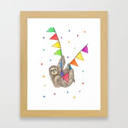 Sloth with Bunting #3 Framed Art Print