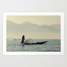 Fisherman on Inle Lake Art Print