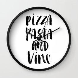 Pizza Pasta and Vino black and white typography poster black-white design home decor kitchen wall Wall Clock