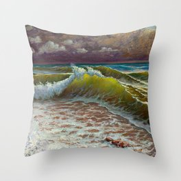 wild waves Throw Pillow