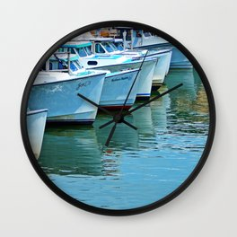 Boats Reflected Wall Clock
