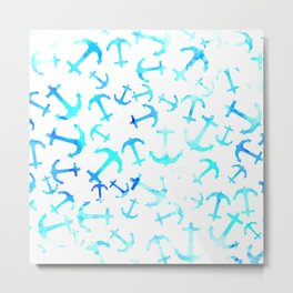 Summer blue watercolor nautical anchors pattern Metal Print