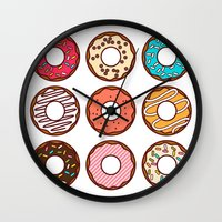 donuts Wall Clocks featuring Donuts by TinyBee