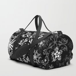 Symbols in Snowflakes on Black Duffle Bag