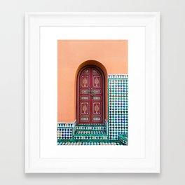 Moroccan Tile Mosaic Door in Marrakech, Morocco Framed Art Print